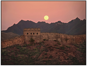 The Great Wall of China with a full moon